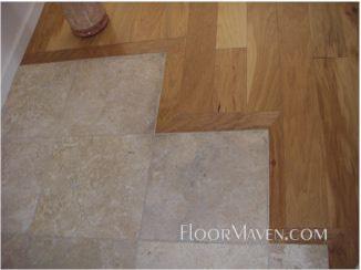 Hickory Hardwood Amp Travertine Transition Floormaven Com